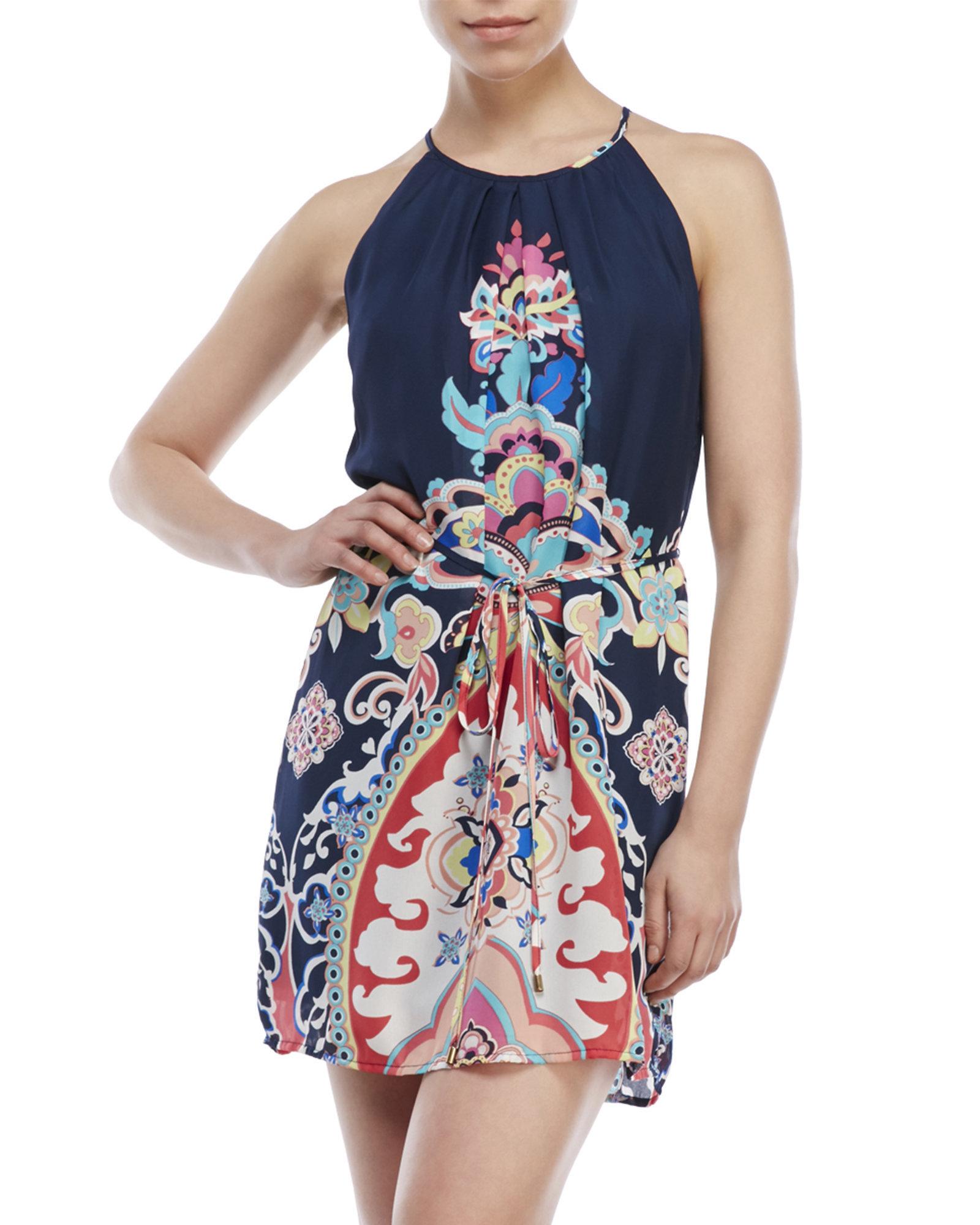 as u wish navy paisley halter dress in blue lyst