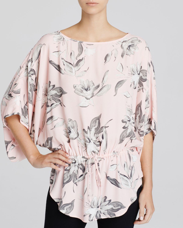 Karen kane Floral Print Kimono Top in Pink (Rose) | Lyst