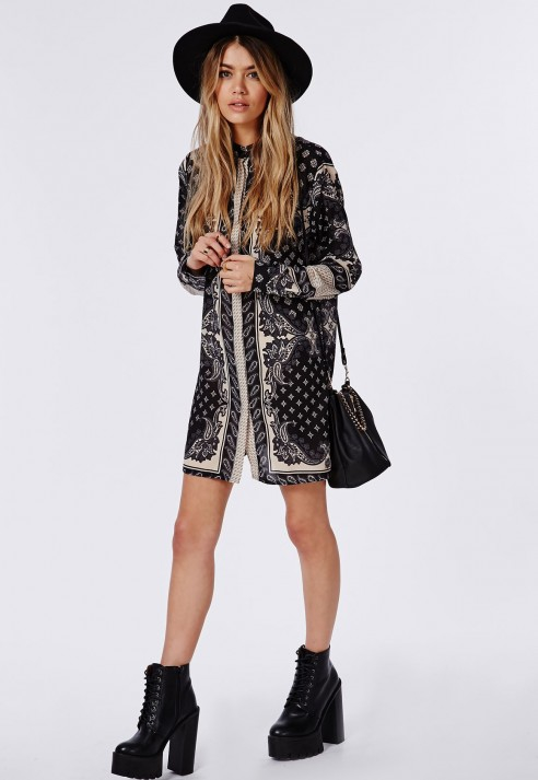 Lyst Missguided Oversized Shirt Dress Black Paisley Print In Black