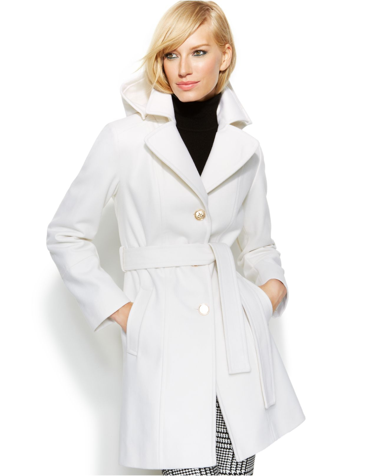 Michael kors Michael Hooded Belted Wool-Blend Coat in White | Lyst