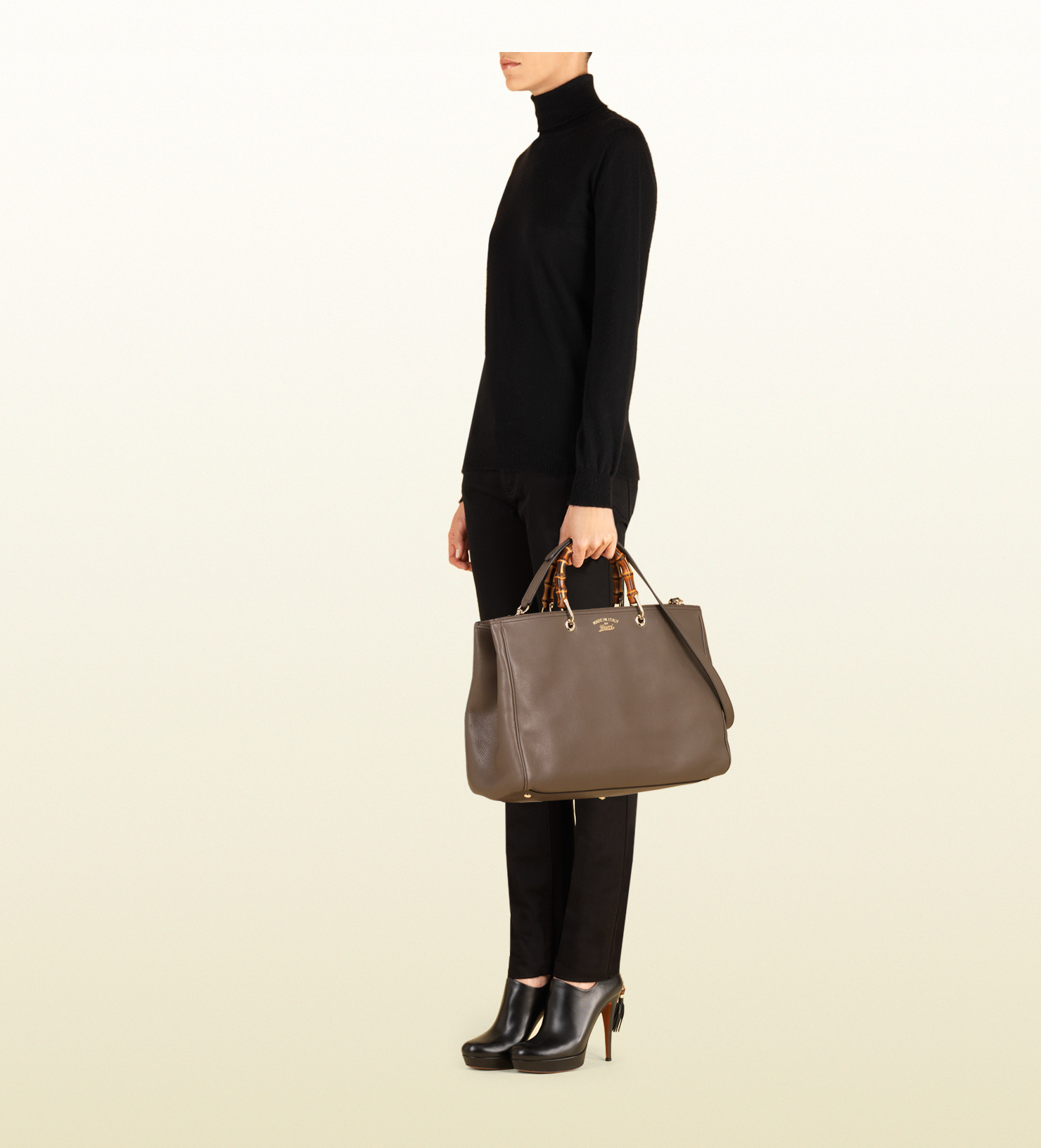 b9fd3ba52a32 Gucci Bamboo Shopper Leather Tote in Brown - Lyst