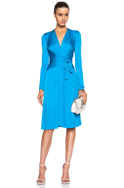 Issa Phylis Silk Jersey Blend Wrap Dress in Blue   Lyst