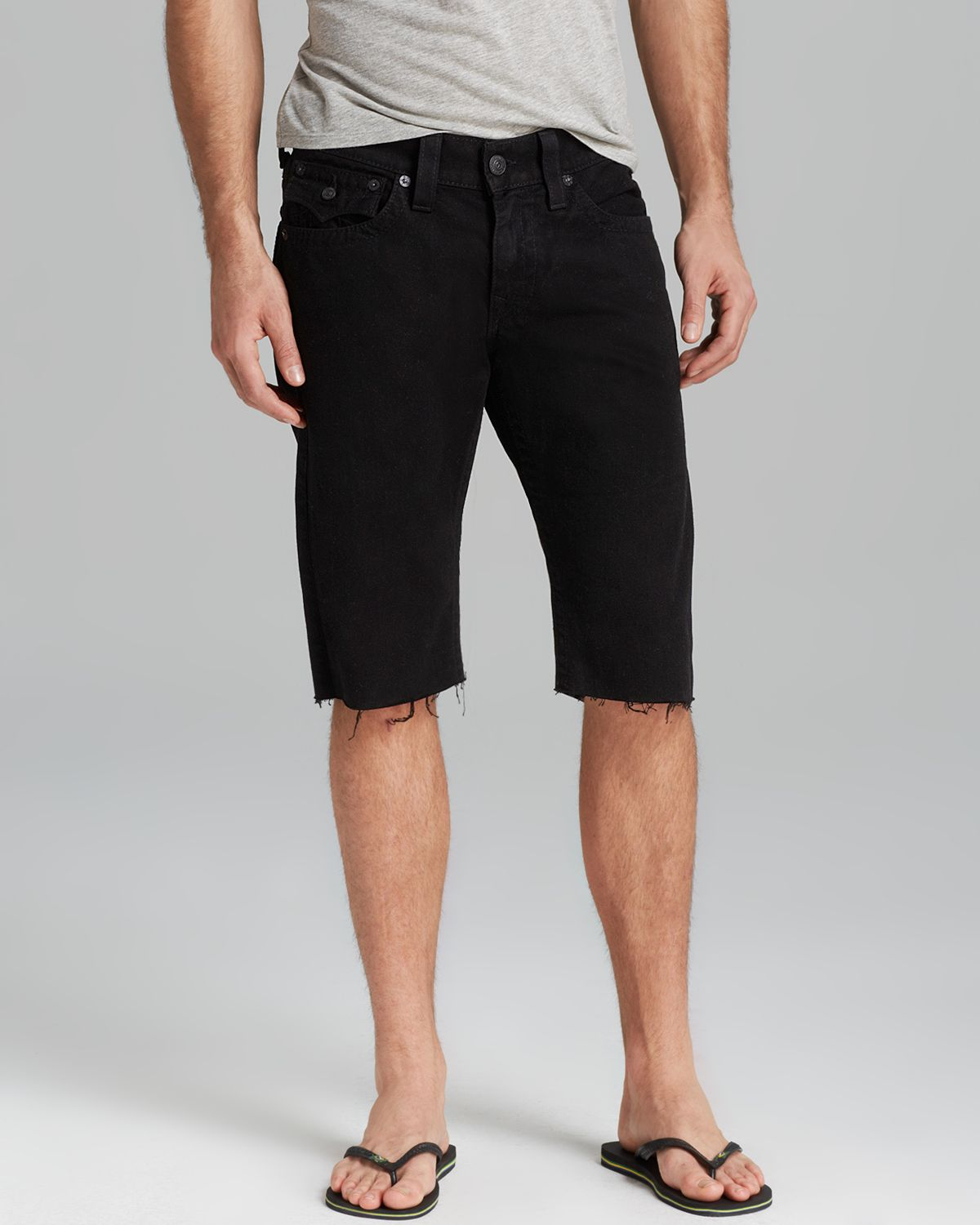 True religion Ricky Cut Off Shorts in Black for Men | Lyst