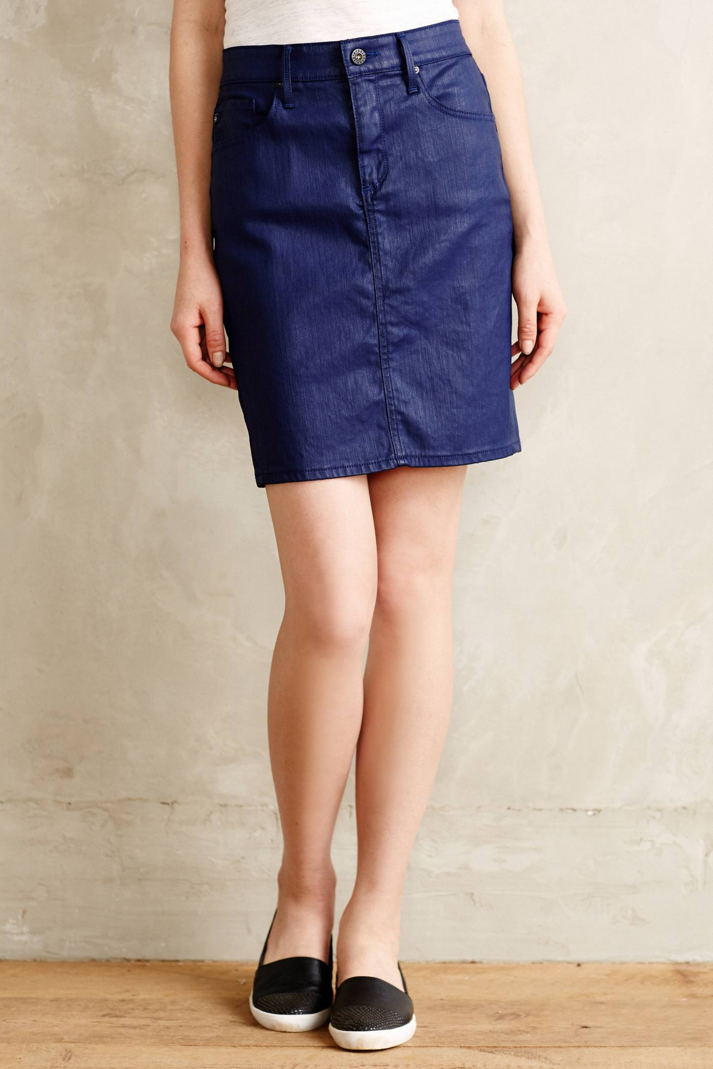 ag adriano goldschmied coated denim pencil skirt in blue