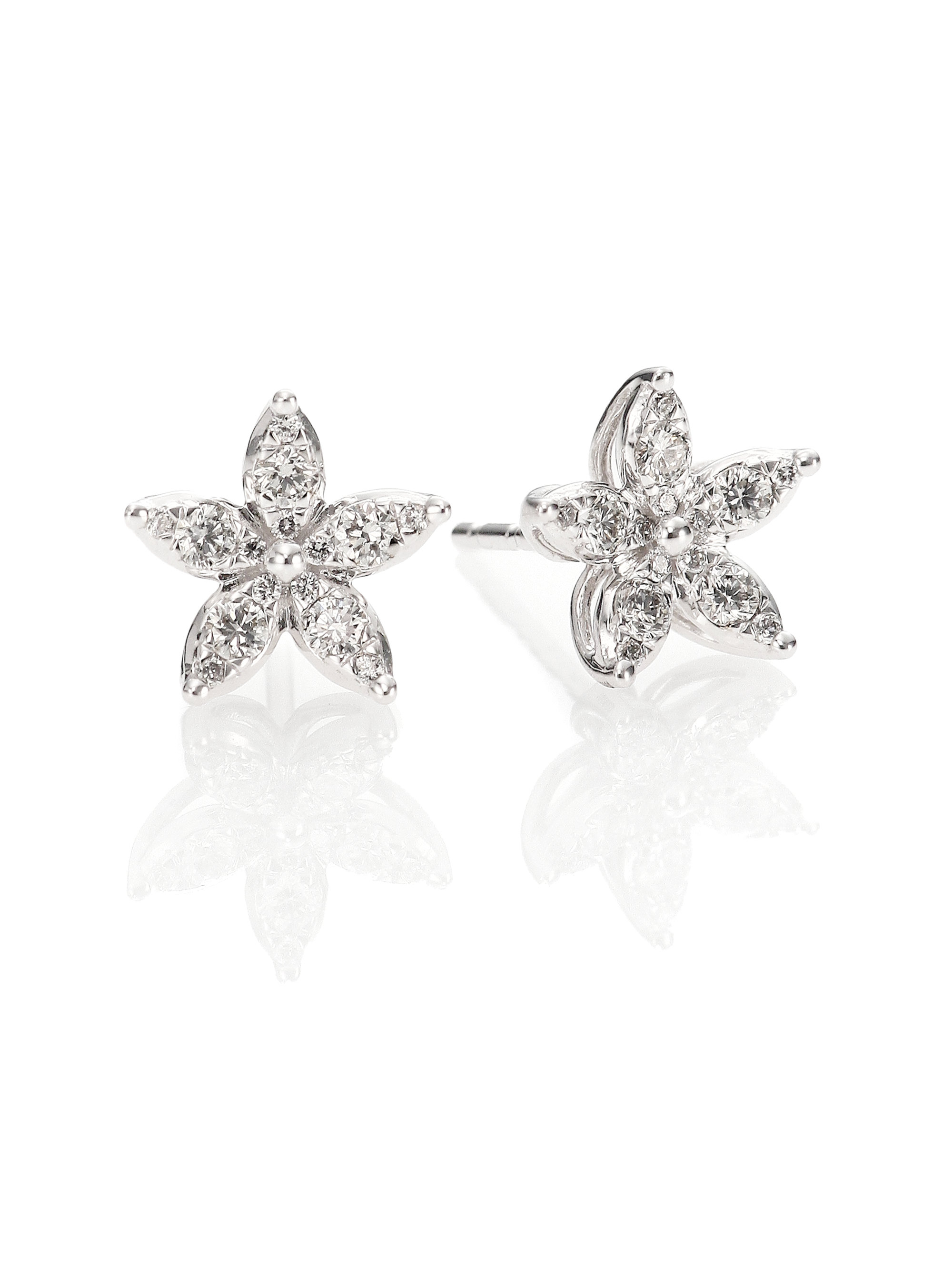 Lyst Kwiat Sunburst Diamond 18k White Gold Flower Stud Earrings