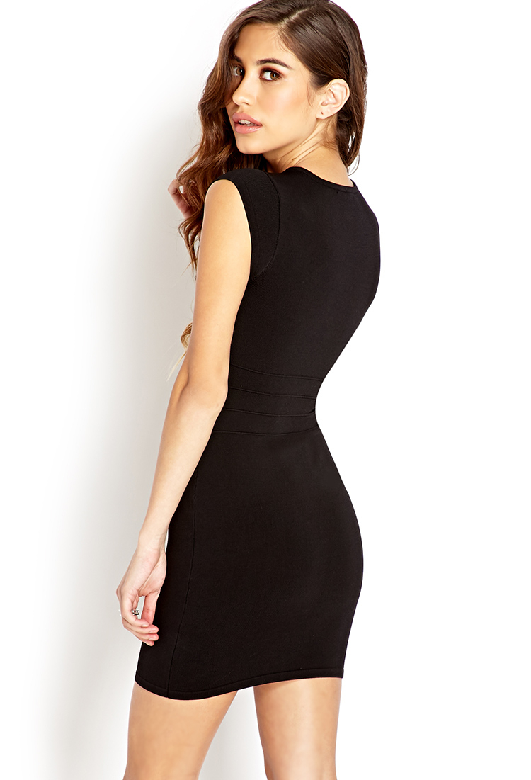 Forever 21 Daring Zippered Bodycon Dress in Black | Lyst