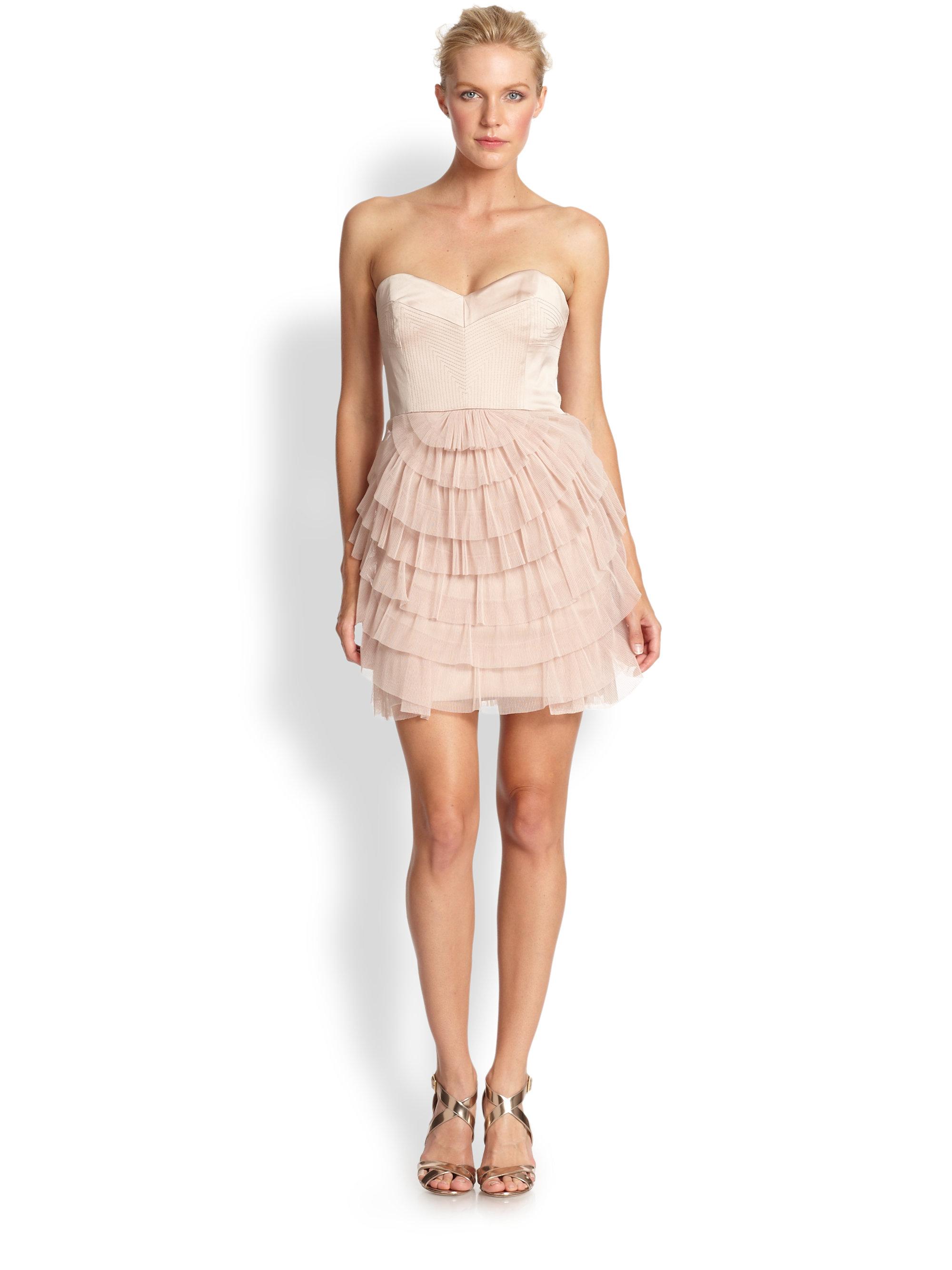 Lyst - Bcbgmaxazria Strapless Tiered Tulle Dress in Pink