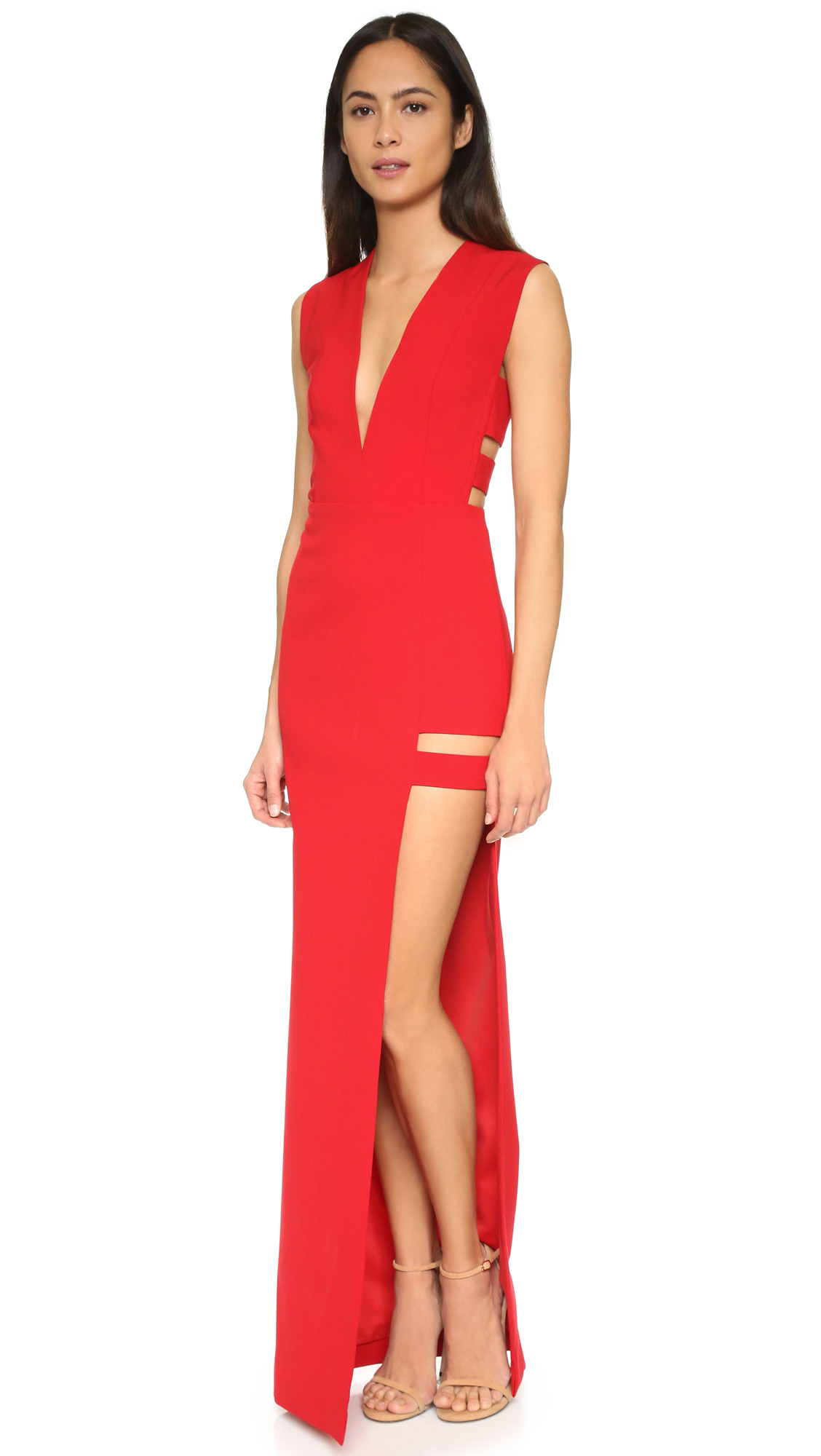 5e56bd856e4 Lyst - Michelle Mason Cage Plunge Gown in Red