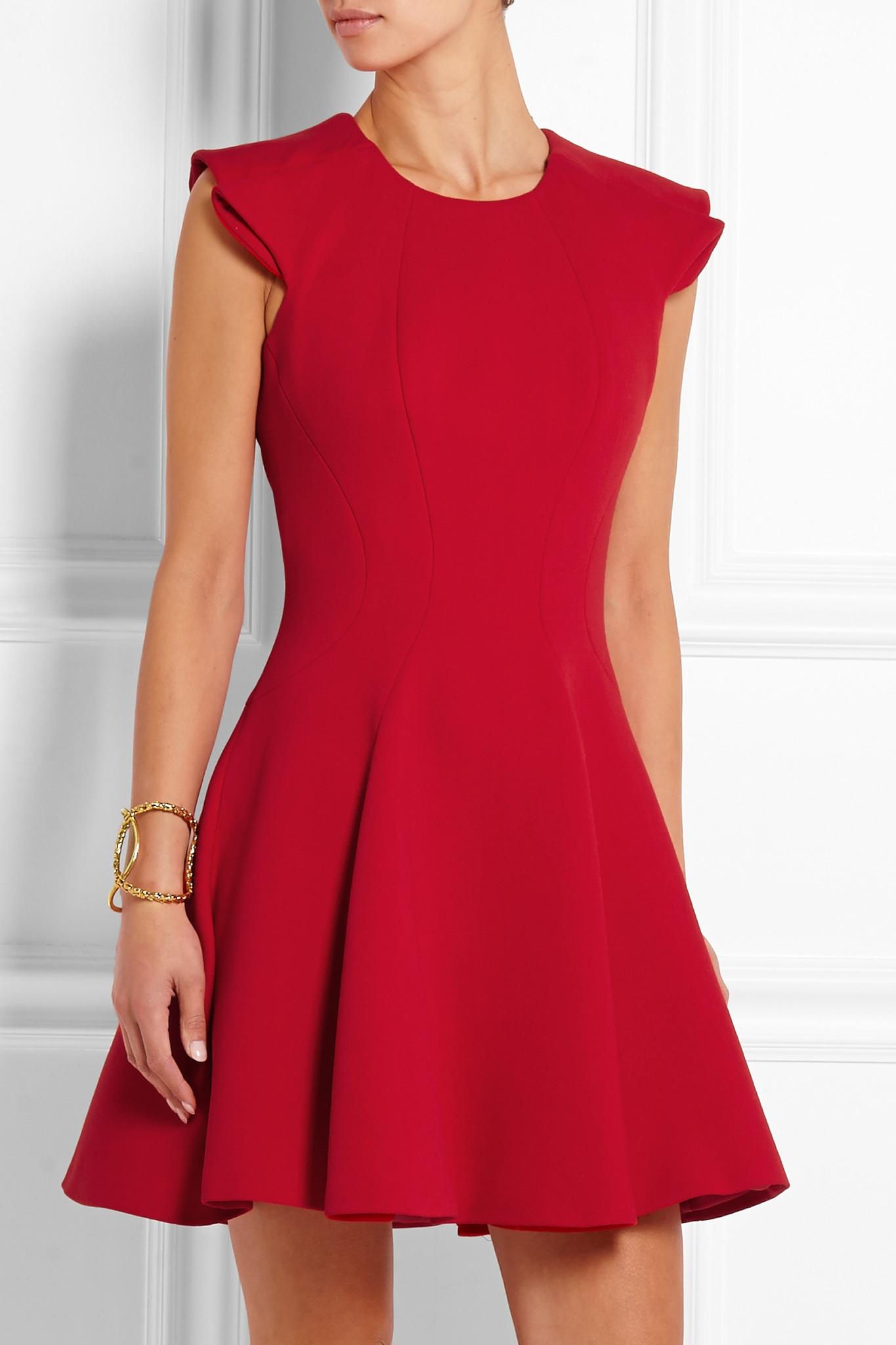 7a31f3f28140a Alexander McQueen Ruffled Wool-blend Scuba Mini Dress in Blue - Lyst