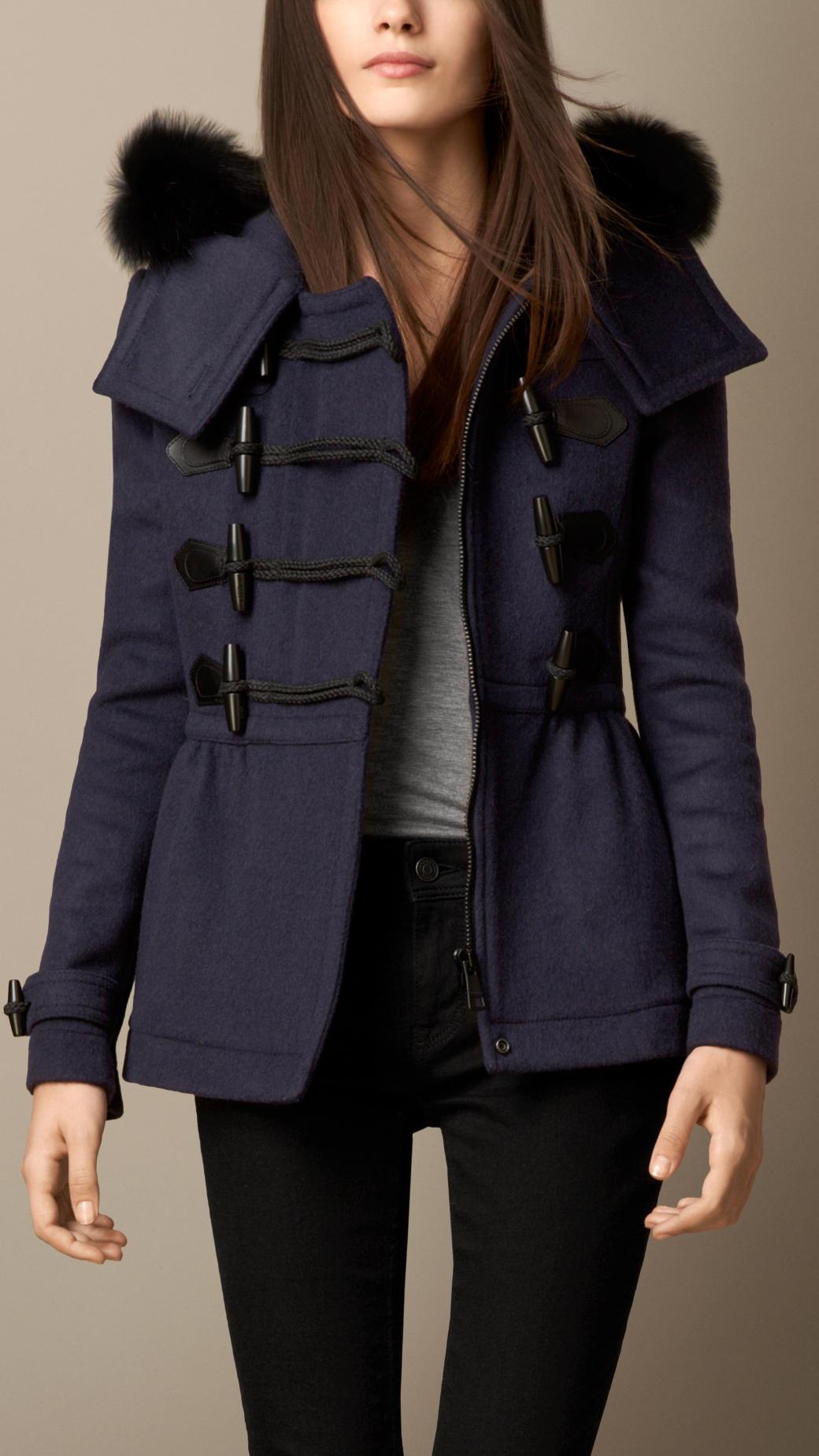 Burberry Fur Trim Peplum Duffle Coat in Blue | Lyst