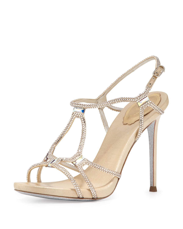 2578f16802e7cf Lyst - Rene Caovilla Metallic Crystal Gladiator Sandal Gold in Metallic