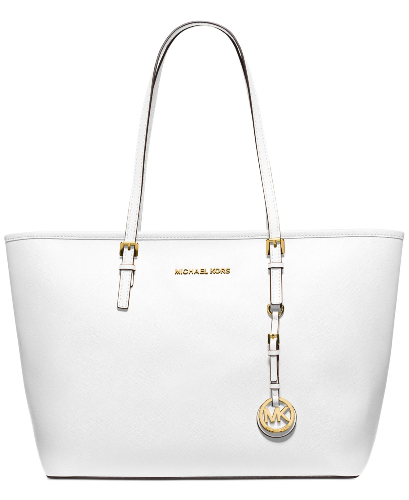 9106dceca284 ... purchase lyst michael kors michael jet set travel top zip tote in white  221b5 83712