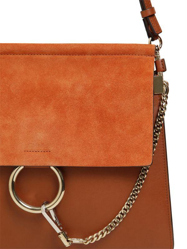 Chlo¨¦ Faye Leather \u0026amp; Suede Shoulder Bag in Brown (TOBACCO BROWN ...