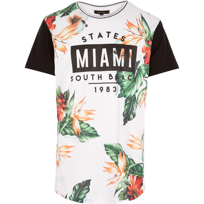 River island white floral miami print curved hem t shirt for Miami t shirt printing