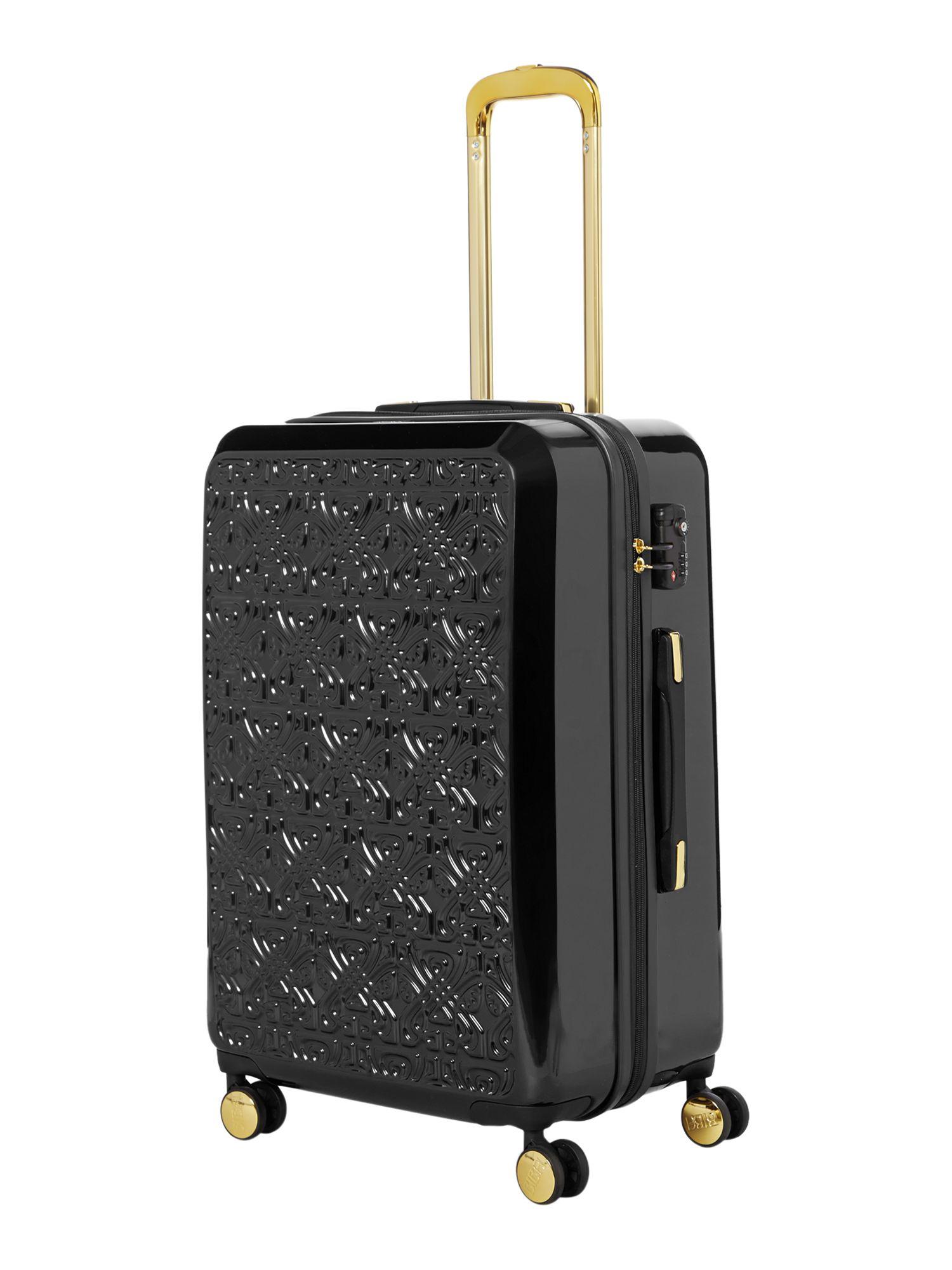 Biba Logo Emboss Black 8 Wheel Large Suitcase in Black ...