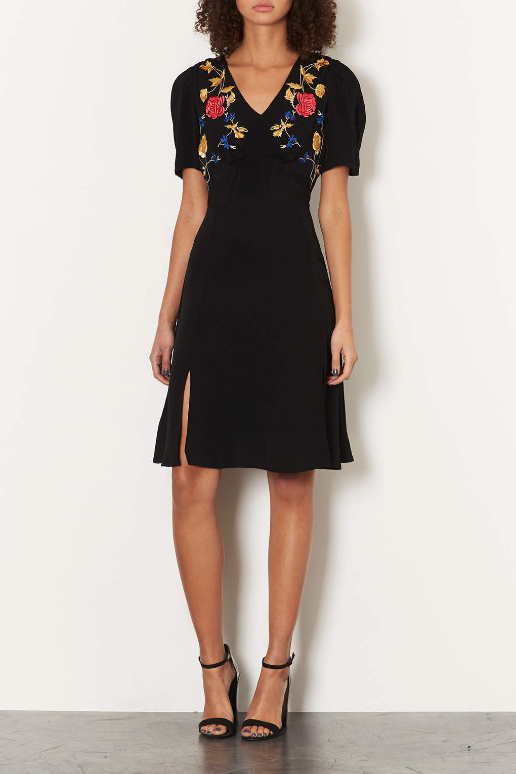 Embroidered Batwing Sleeve Flip Dress from Topshop R4400,00