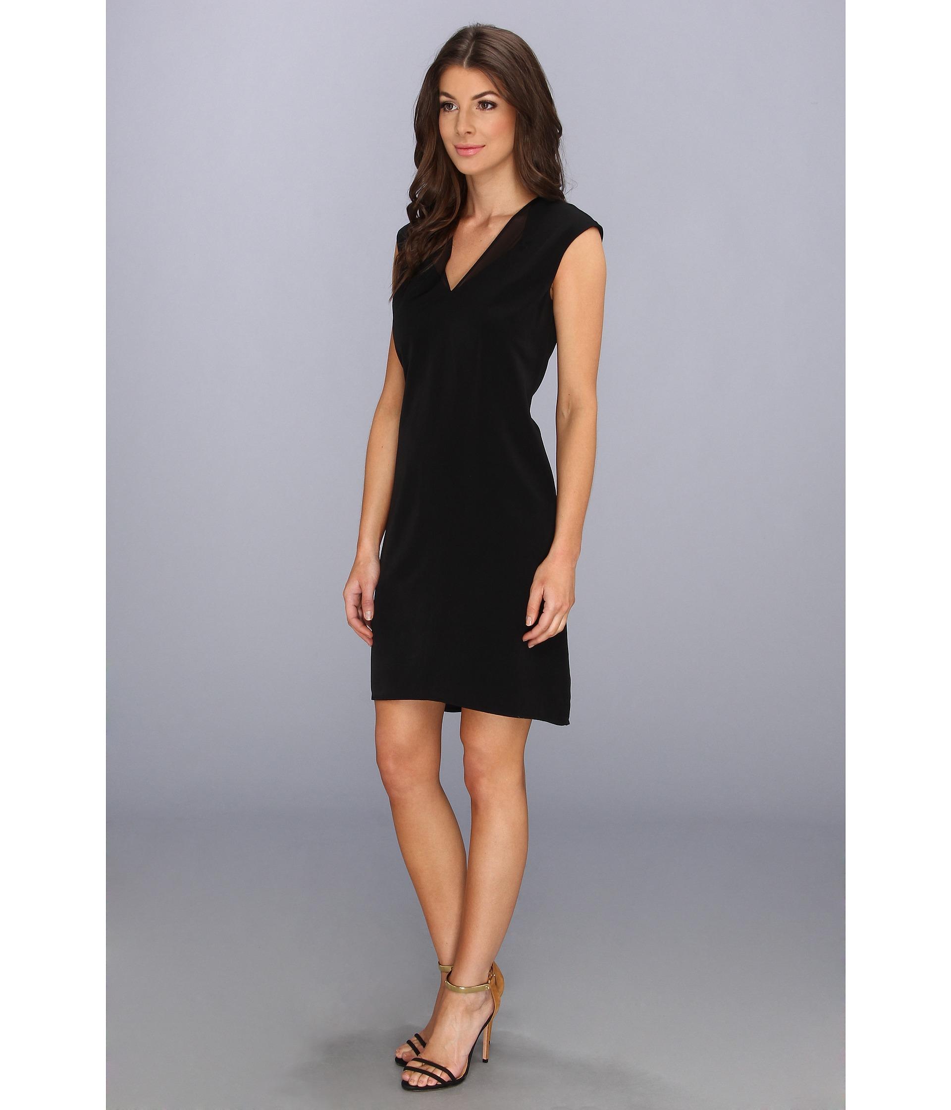 05f50643aa072 Lyst - Calvin Klein Vneck 4 Ply Dress W Chiffon in Black