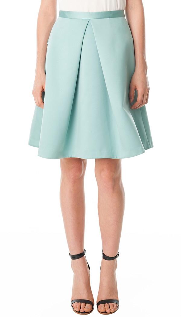 tibi satin pleated skirt in green lyst