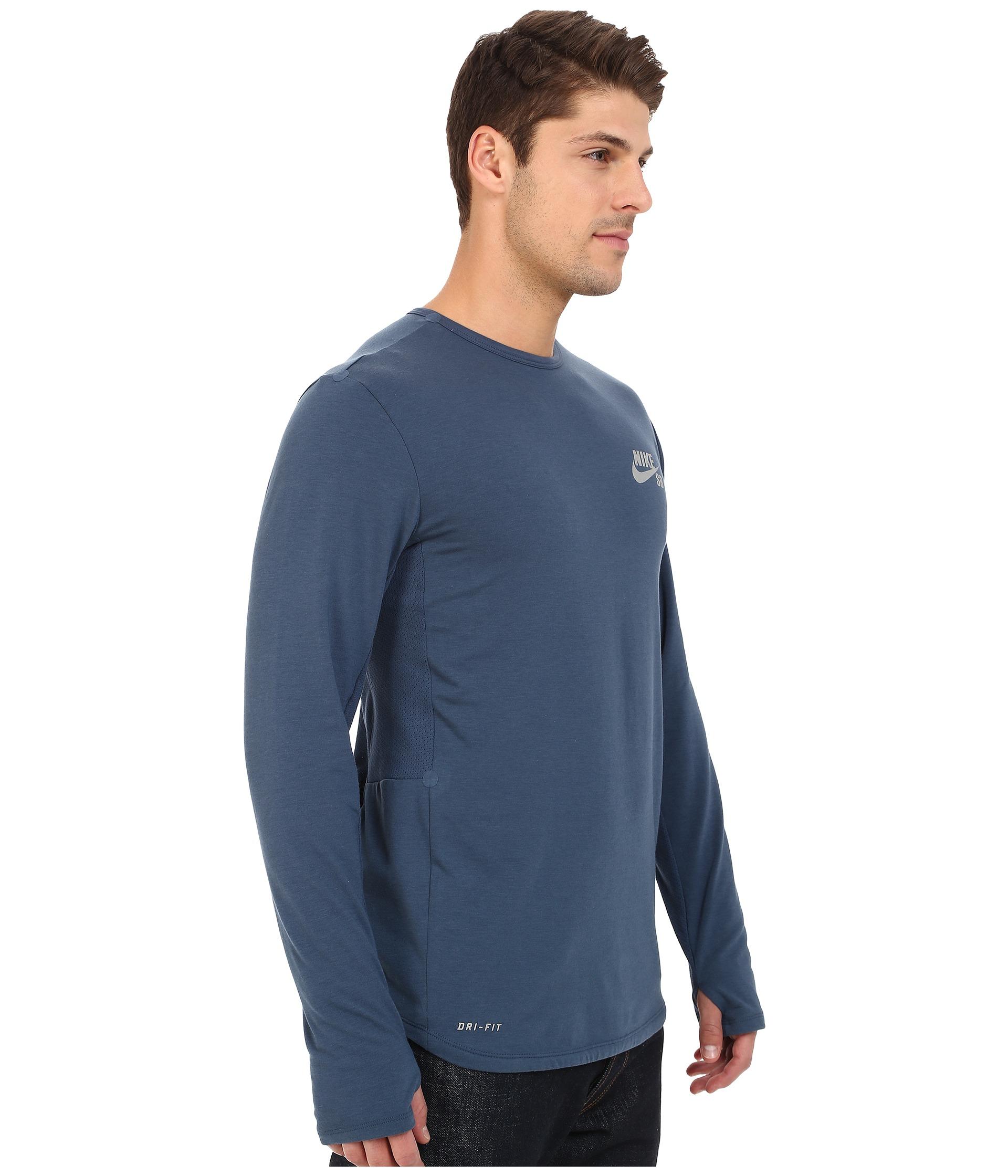 e06935b8 Nike Sb Skyline Dri-fit™ Cool Long Sleeve Crew in Blue for Men - Lyst
