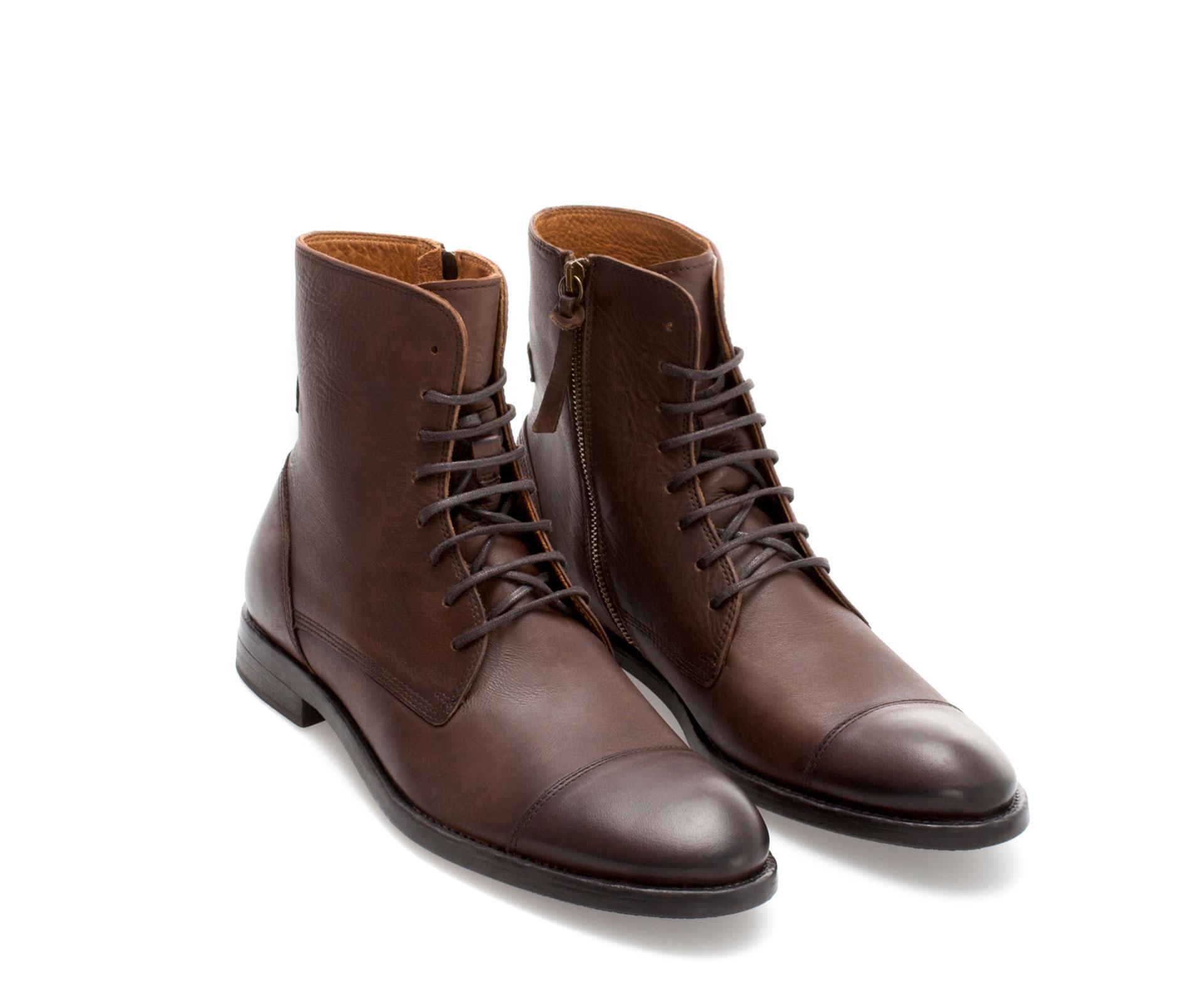 zara leather captoe boot in brown for men lyst. Black Bedroom Furniture Sets. Home Design Ideas