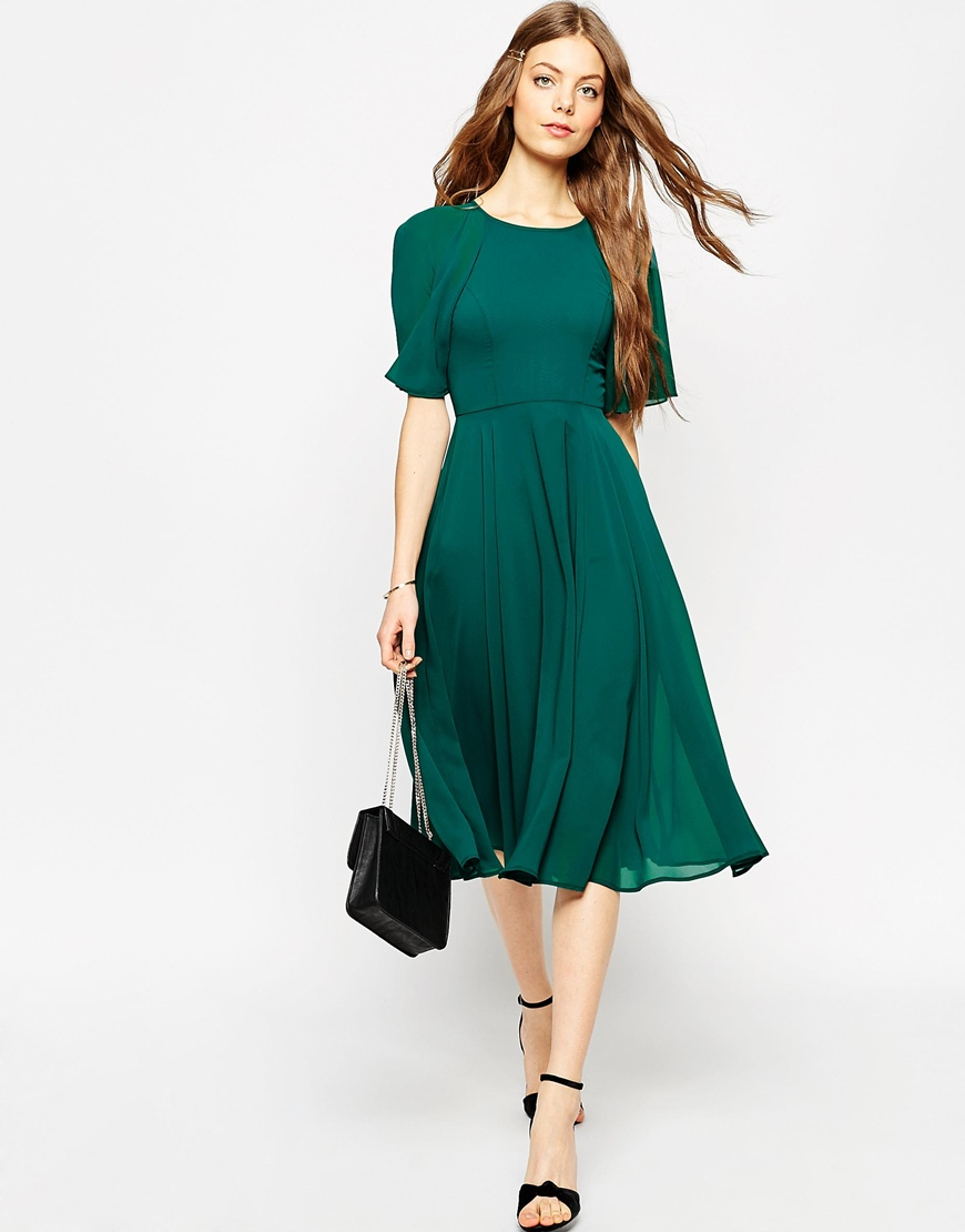 Lyst Asos Lace Up Back Kaftan Sleeve Midi Dress In Green
