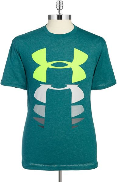 Under armour big logo rising tee in teal for men lyst for Teal under armour shirt