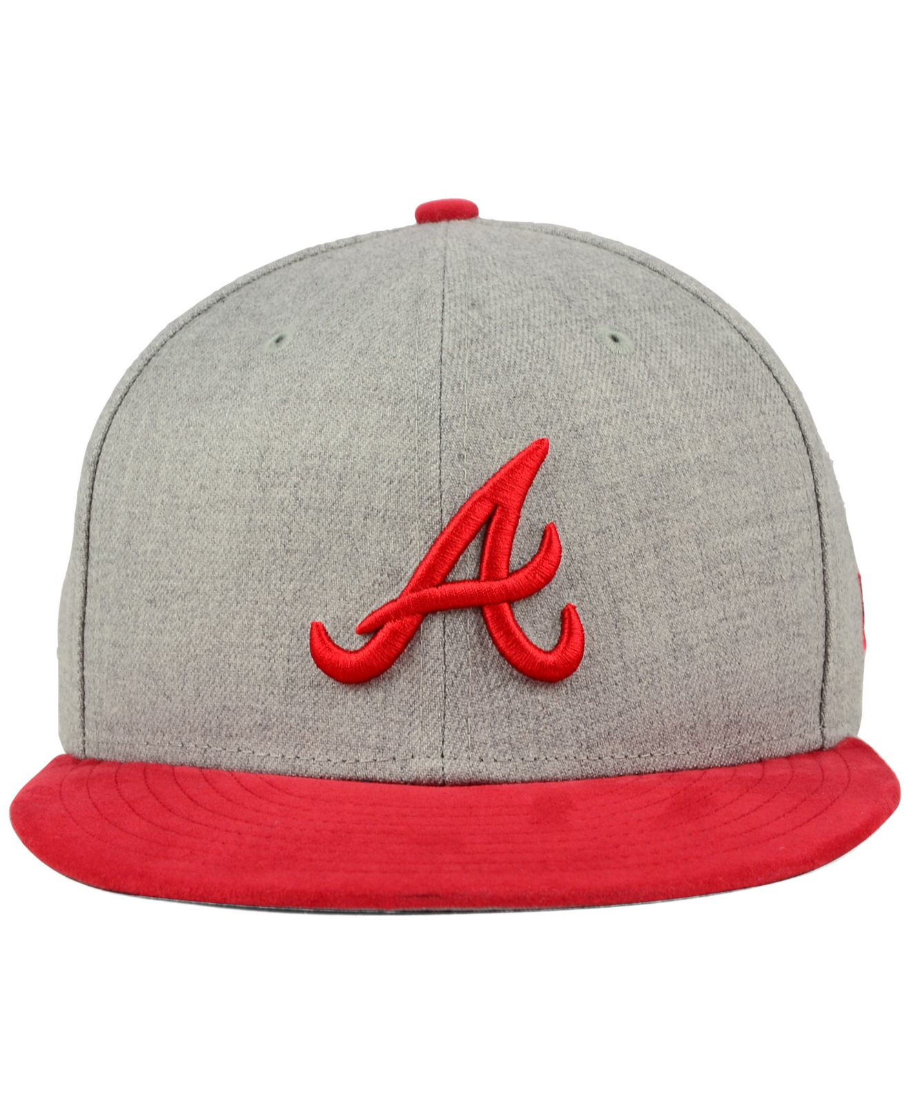 ed1c3463 ... promo code for lyst ktz atlanta braves heather on faux suede 9fifty  snapback cap d9eb4 d3693
