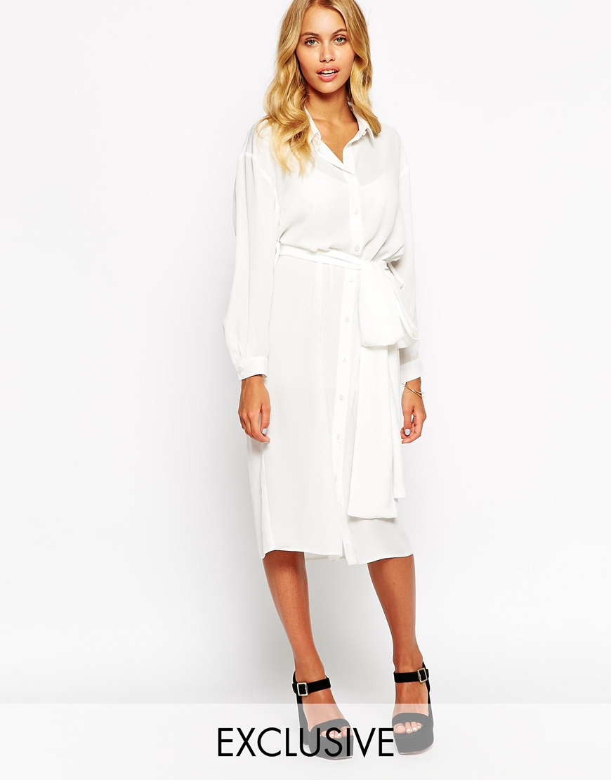 belted midi shirt dress in white lyst