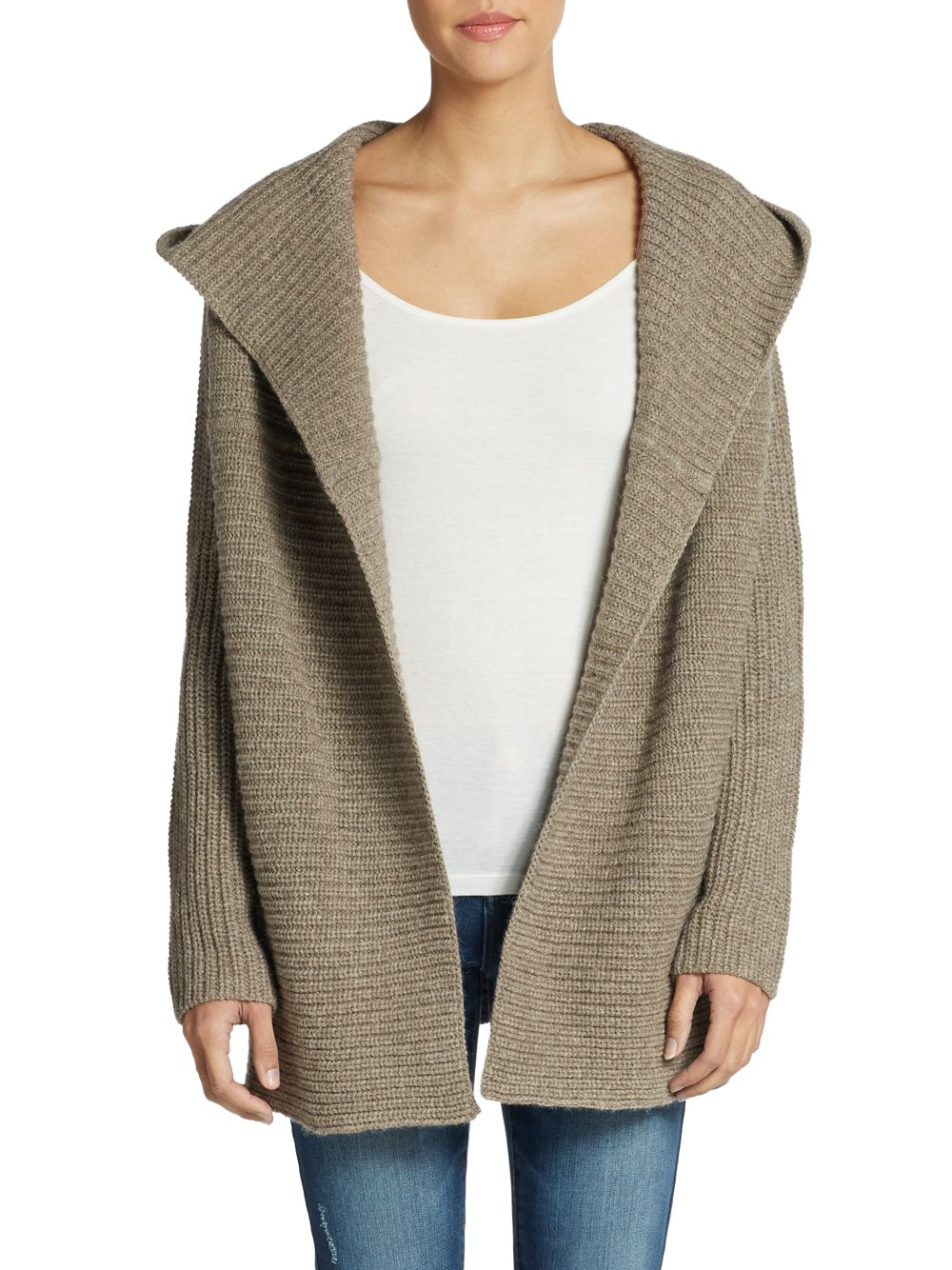 Lyst Vince Hooded Chunky Knit Cardigan In Brown