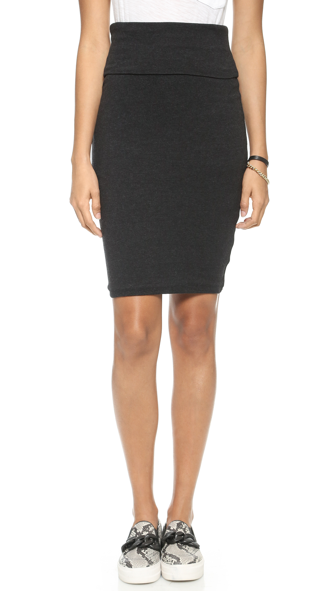 high waisted sueded jersey skirt black in
