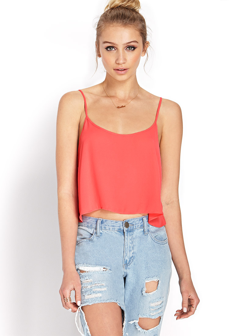 Forever 21 Cropped Chiffon Cami in Orange