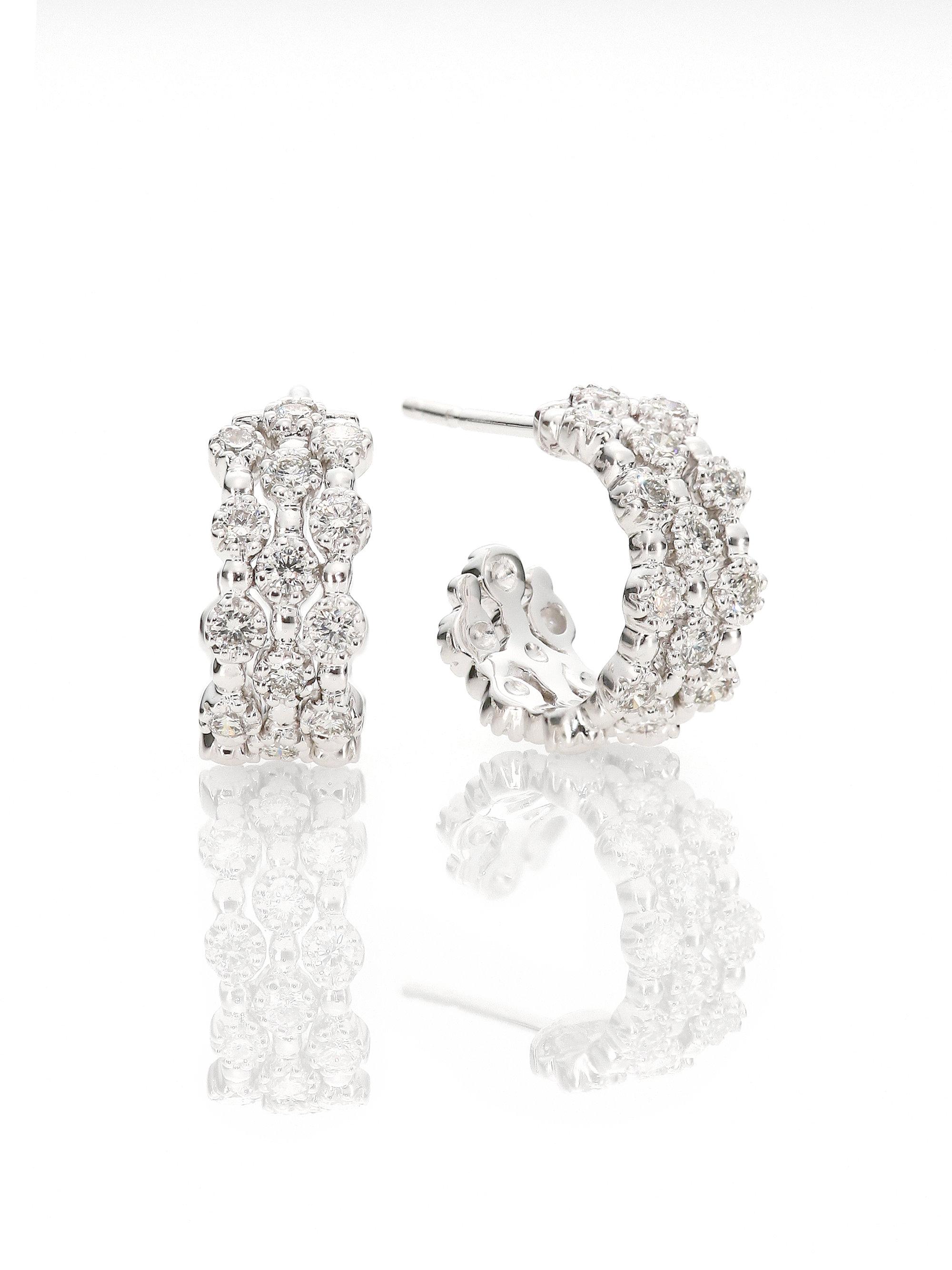 Kwiat Stardust Diamond & 18k White Gold Huggie Hoop Earrings 0 65