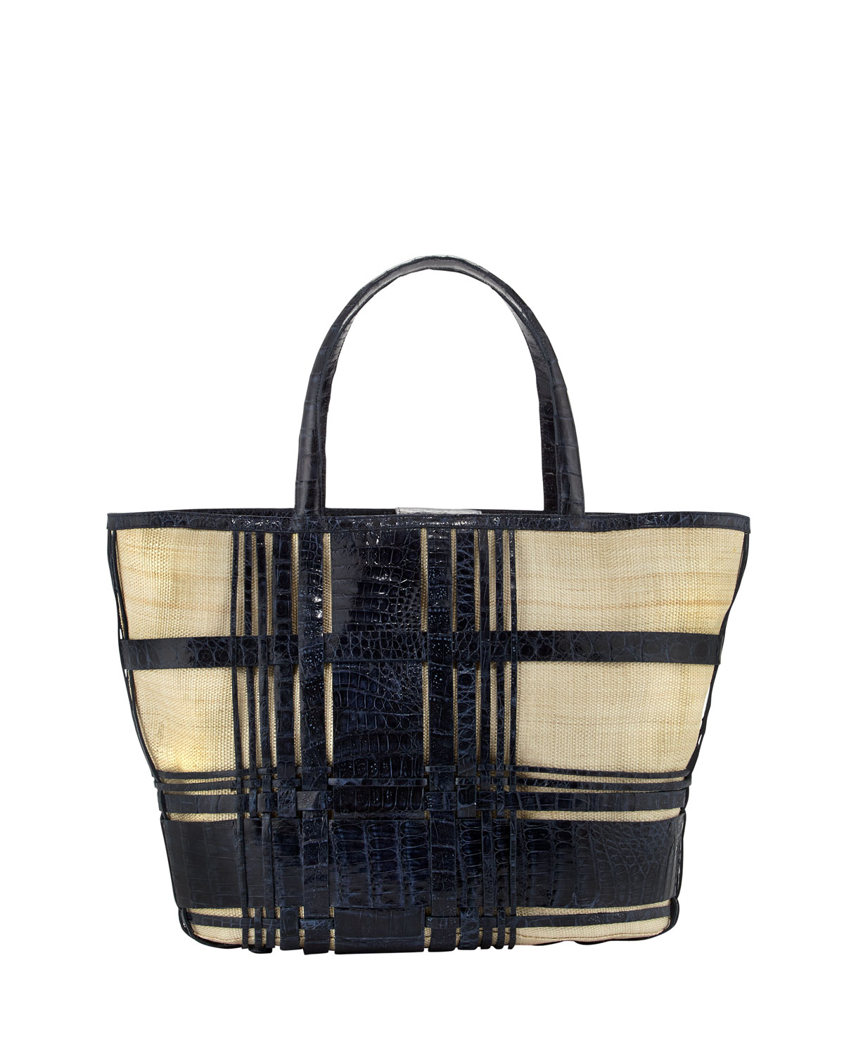Nancy gonzalez plaid crocodilelinen beach tote blue in for Nancy gonzalez crocodile tote
