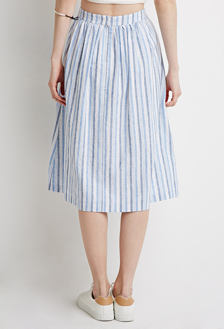 Lyst Forever 21 Contemporary Striped A Line Skirt In Blue
