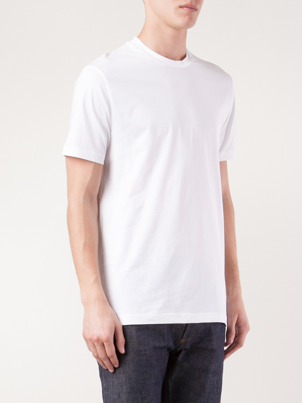 Lyst sunspel crew neck t shirt in white for men for Crew neck white t shirt