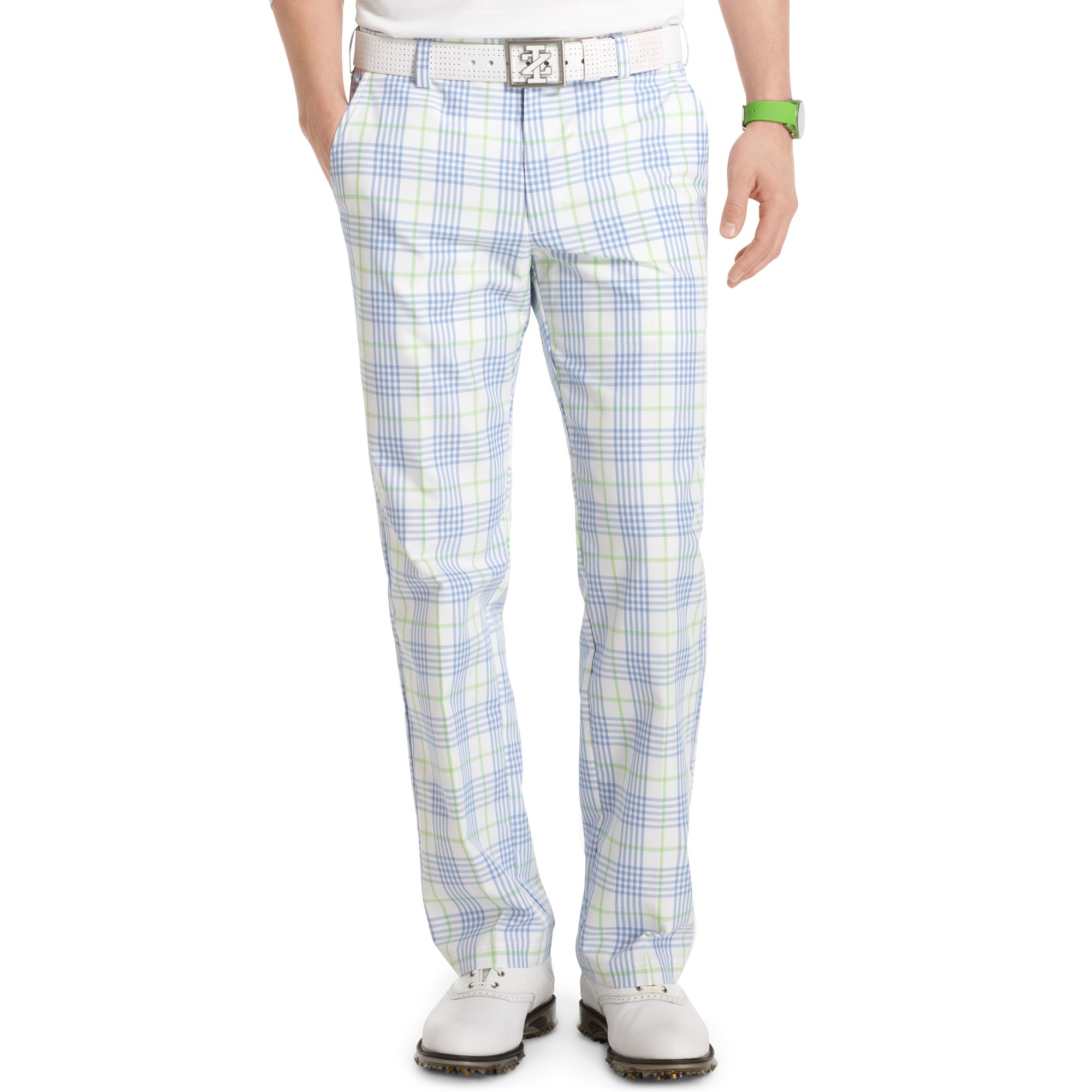 Izod Flatfront Plaid Performance Golf Pants in Blue for Men | Lyst