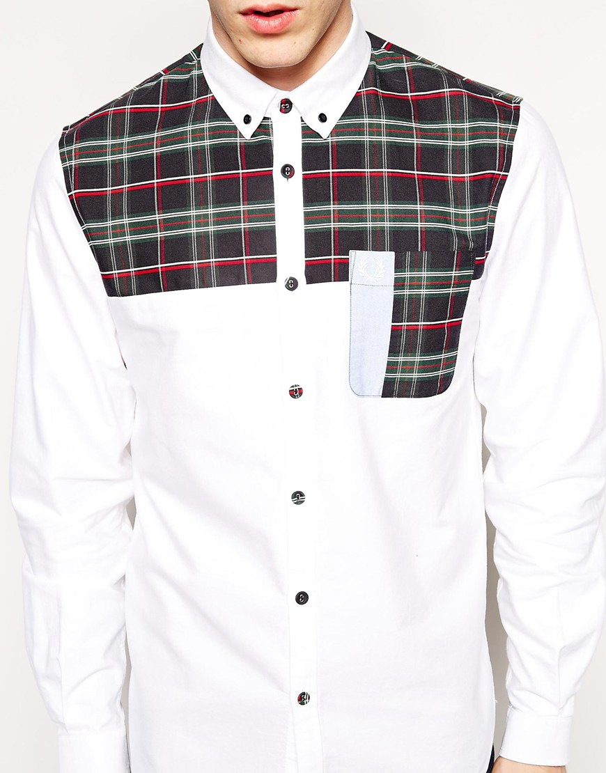 Lyst - Fred Perry Shirt with House Plaid Shoulders in ...