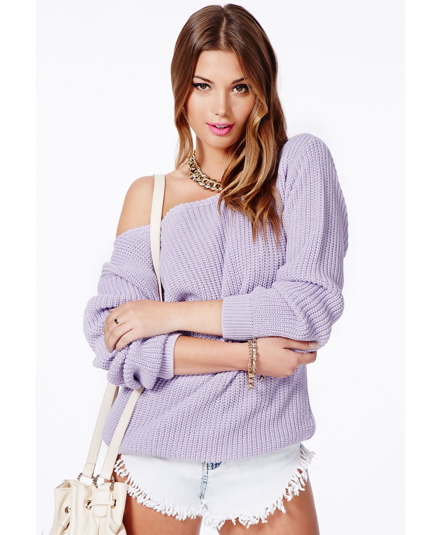 Missguided Ophelita Off Shoulder Jumper in Lilac in Purple | Lyst