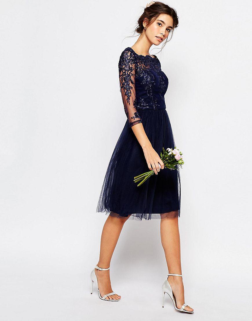 chi chi bardot neck midi dress with premium lace