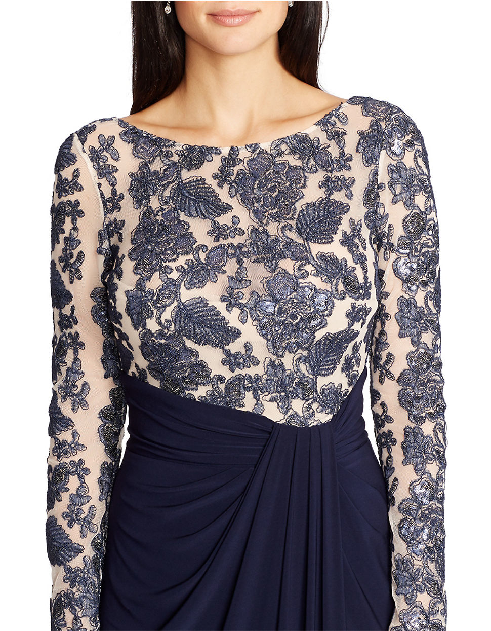 Enchanting Lauren Ralph Lauren Bateau Neck Sequin Lace Gown ...