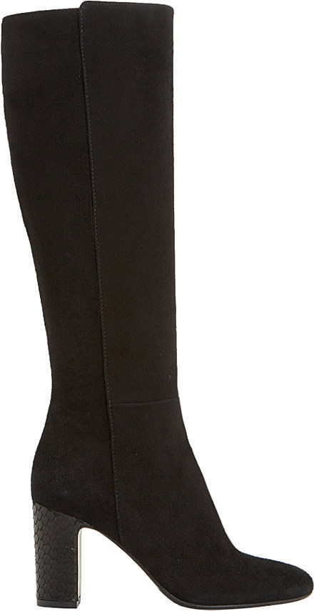 dune black suri suede knee high boots in black black