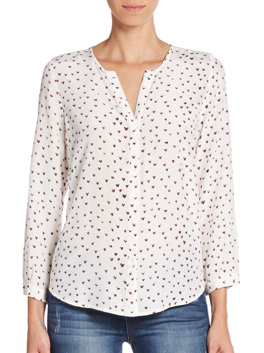 521ff52f6f531 Lyst - Joie Purine Heart-print Silk Blouse in White
