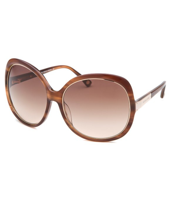 Michael Kors Adrianna Sunglasses  michael kors women s adrianna round dark brown horn sunglasses in
