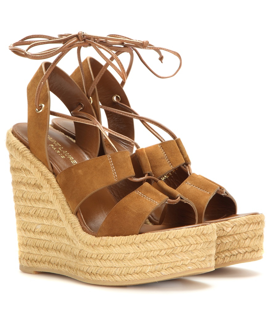 10bdc2175c0 Lyst - Saint Laurent Espadrille 95 Suede Wedge Sandals in Brown