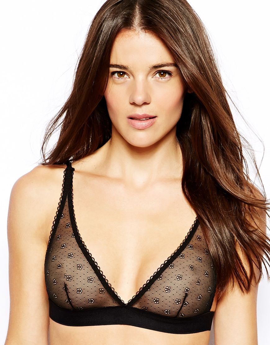 7d343caa80e Lyst - ASOS Daisy Mesh High Apex Triangle Bra in Black