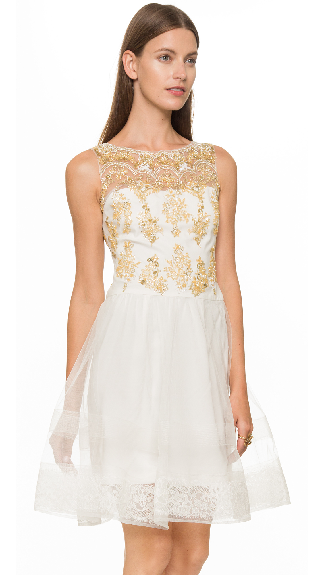 Notte by marchesa Sleeveless Lace Cocktail Dress White
