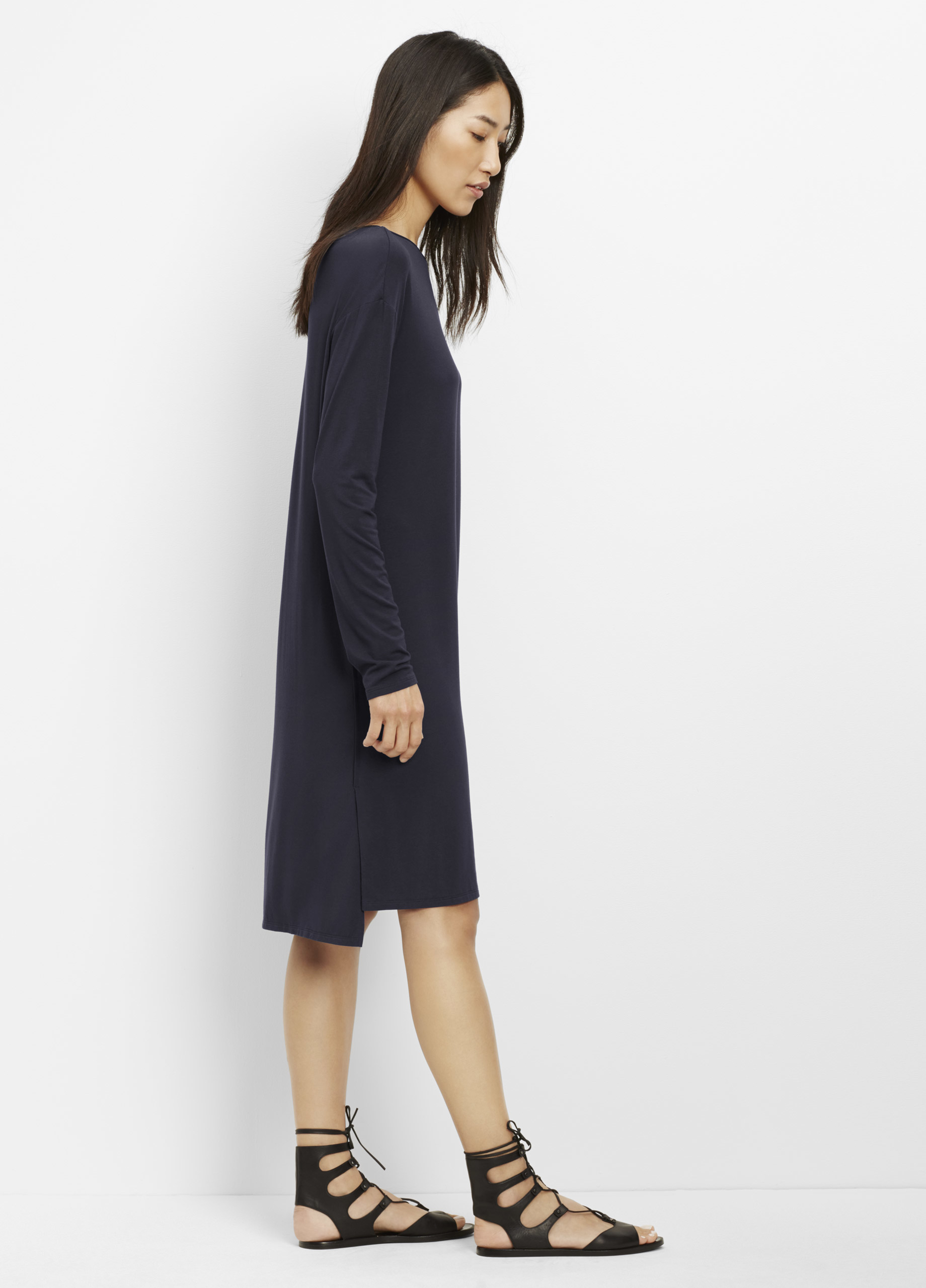 6ea55dc71879 Vince Luxe Cotton Blend Long Sleeve T-shirt Dress With Faux Leather ...