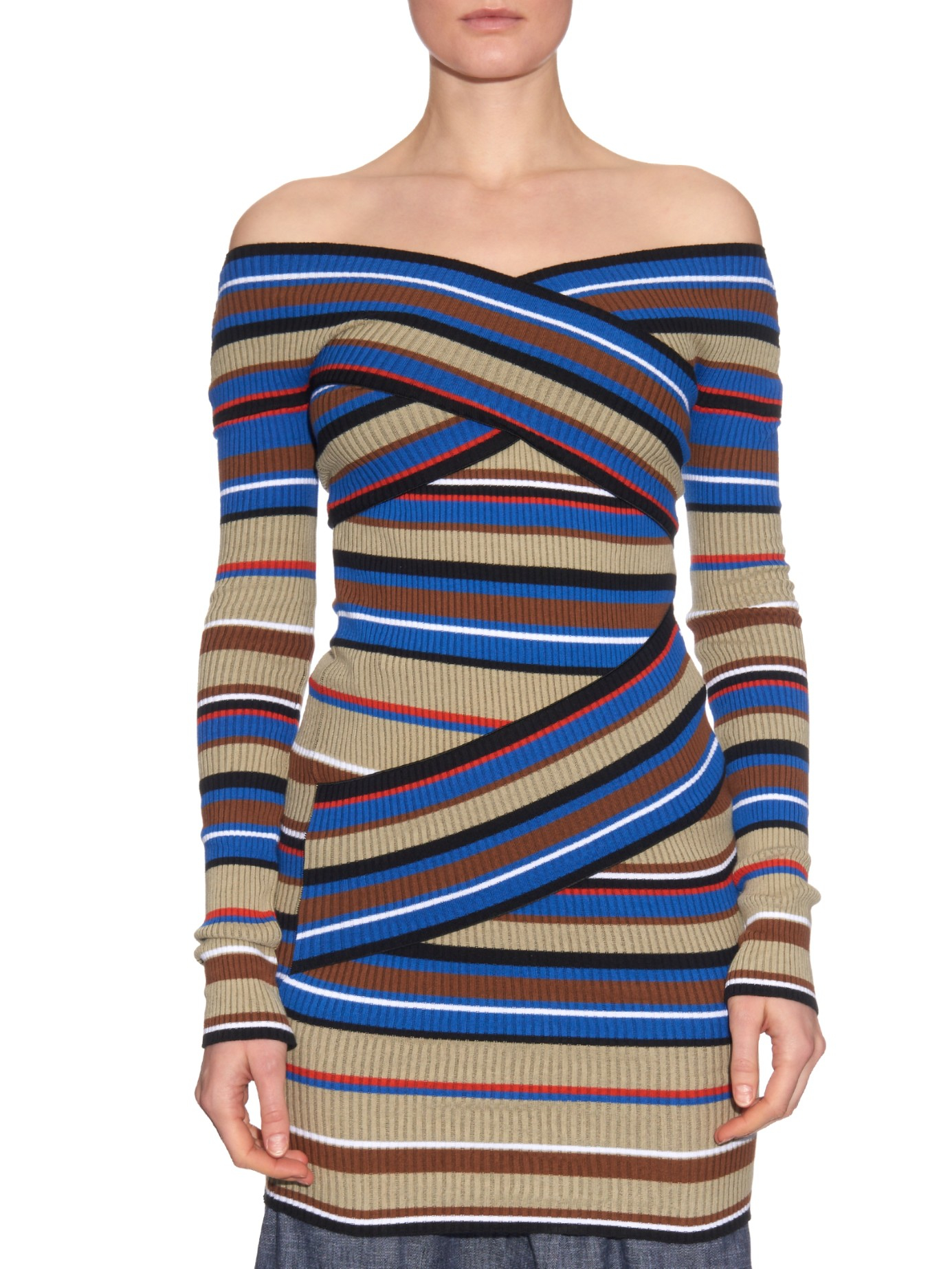 Msgm Off-the-shoulder Striped Sweater in Blue | Lyst