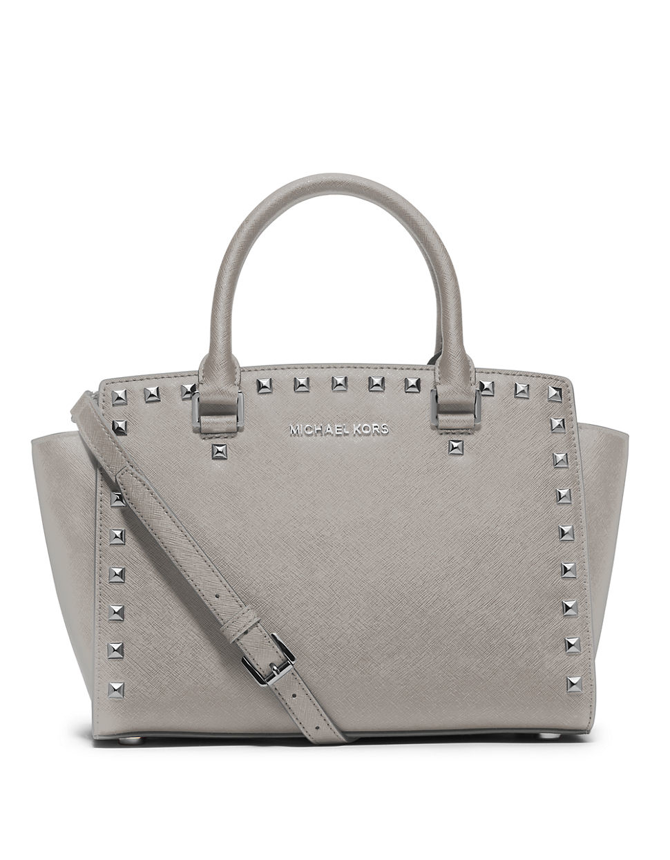 michael michael kors selma studded saffiano leather medium satchel bag in gray lyst. Black Bedroom Furniture Sets. Home Design Ideas
