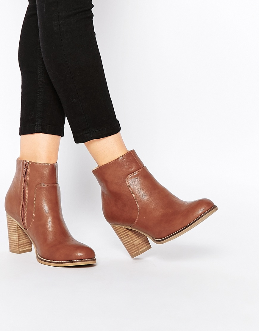 a3c34f98ff15 Lyst - Oasis Block Heel Boot With Stitching Detail - Tan in Brown
